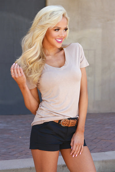 Hello There V-Neck Top - Beige