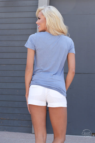 Hello There V-Neck Top - Blue
