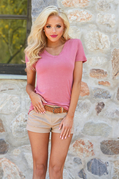If Only Belted Shorts - Khaki - Front View - Closet Candy Boutique