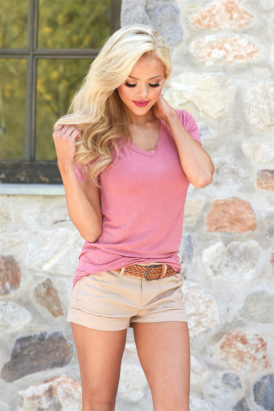 Hello There V-Neck Top - dusty rose pink v-neck top, front, Closet Candy Boutique