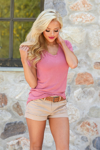 If Only Belted Shorts - Khaki - 3/4 view - Closet Candy Boutique
