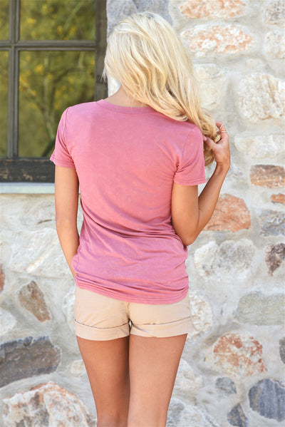 Hello There V-Neck Top - dusty rose pink v-neck top, back, Closet Candy Boutique