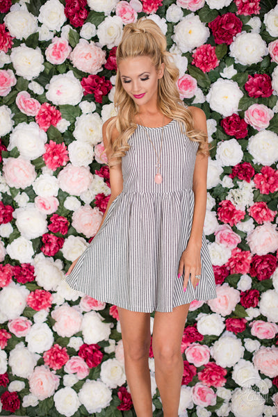 Scenic Route Striped Dress - Grey