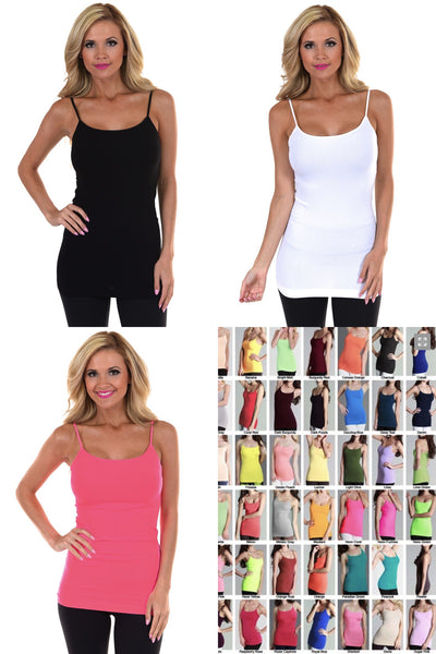 Basic Long Seamless Tanks Collage multiple colors amazing quality seamless long tank spaghetti straps closet candy