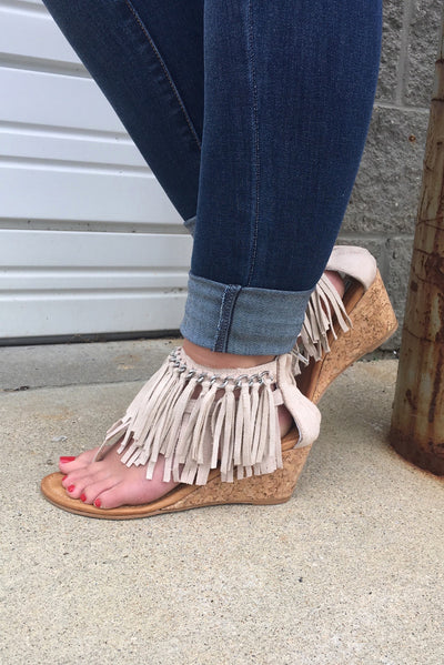 Caught Up Wedge Fringe Sandals