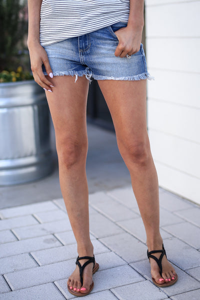 CELLO Cali Coast Denim Shorts - Medium Wash raw edge shorts, Closet Candy Boutique 1