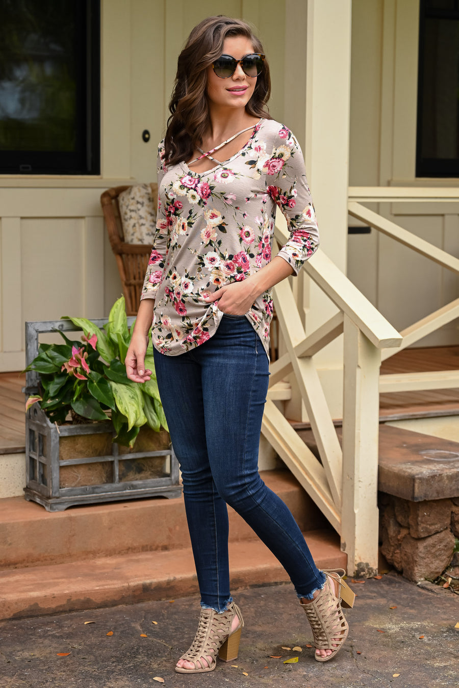 Nice To See You Floral Top - Taupe women's 3/4 sleeve top with criss-cross neckline, Closet Candy Boutique 3