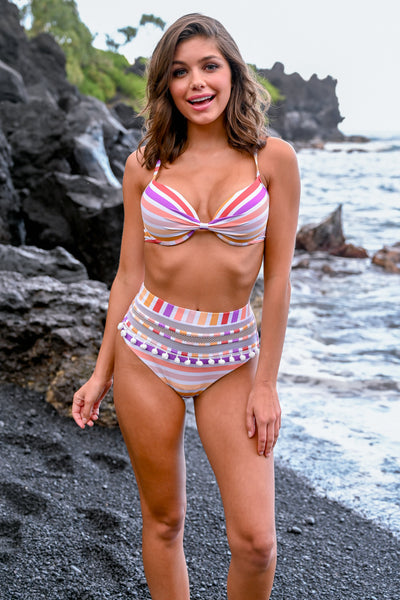Exclusive Access Bikini - Multi Stripe women's two piece high-waisted bikini, Closet Candy Boutique 4