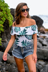 Road To Hana Swimsuit - White & green women's off-the-shoulder one pice swim with palm leaf print, Closet Candy Boutique 1
