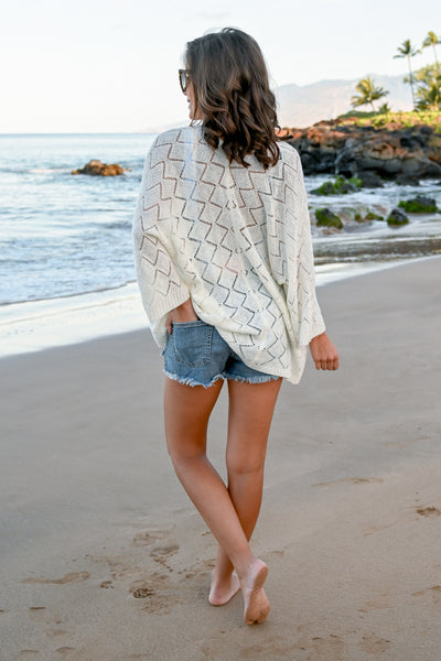 One With The Waves Kimono - Ivory women's open front knit cardigan, Closet Candy Boutique 2