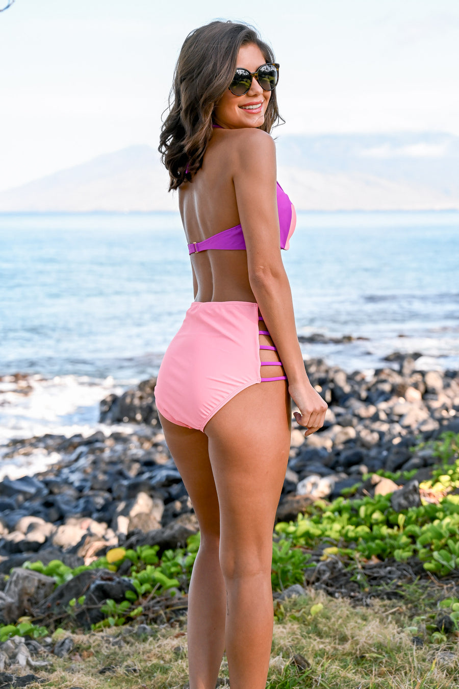 Off The Coast Bikini - Coral & purple vibrant high-waisted push-up bikini, Closet Candy Boutique 1