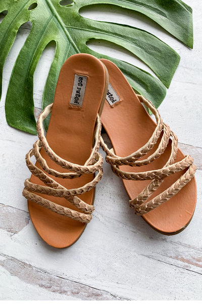 Lana Braided Strappy Sandals - Rose Gold womens trendy strappy braided slip on sandal closet candy 2