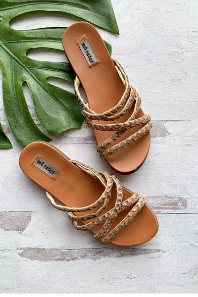 Lana Braided Strappy Sandals - Rose Gold womens trendy strappy braided slip on sandal closet candy front