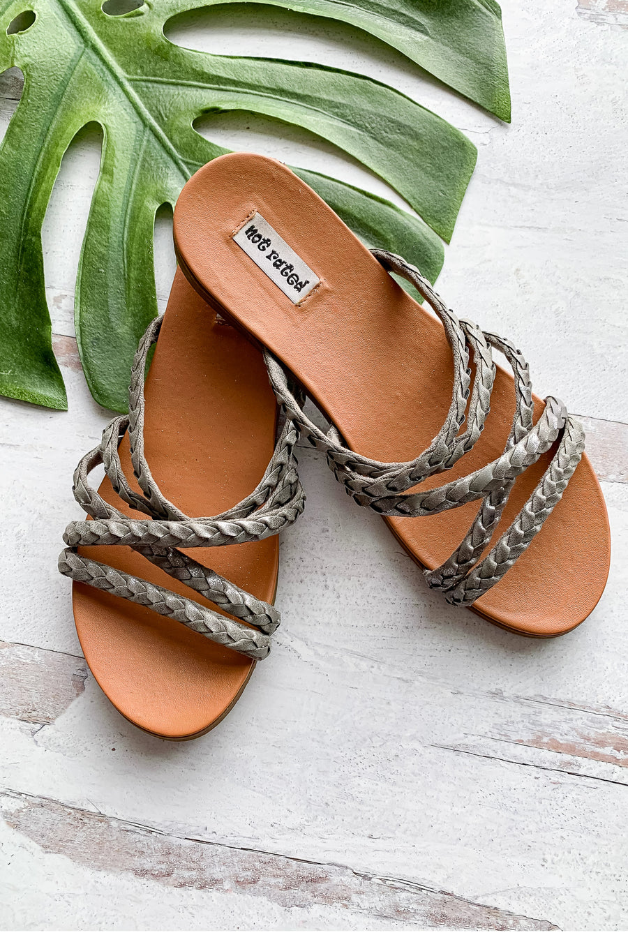 Lana Braided Strappy Sandals - Silver womens trendy braided slip on detail closet candy front