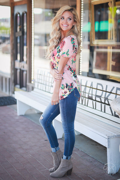 Closet Candy Boutique - cute casual v-neck floral top with short sleeves, spring and summer style, side