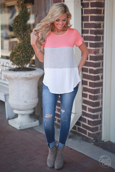 Closet Candy Boutique - color block short sleeve top with stripes