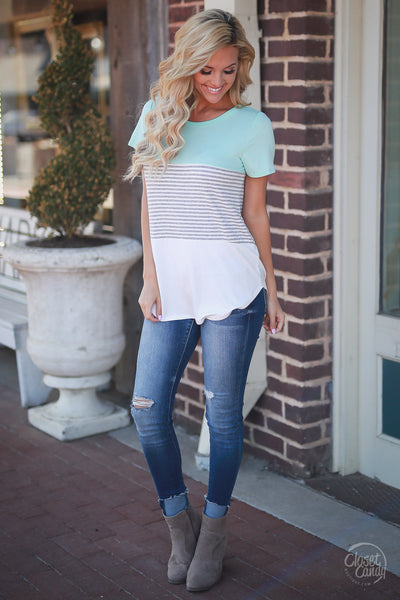 Closet Candy Boutique - All Day Everyday Top, cute and comfy everyday tee, stripe and color block shirt