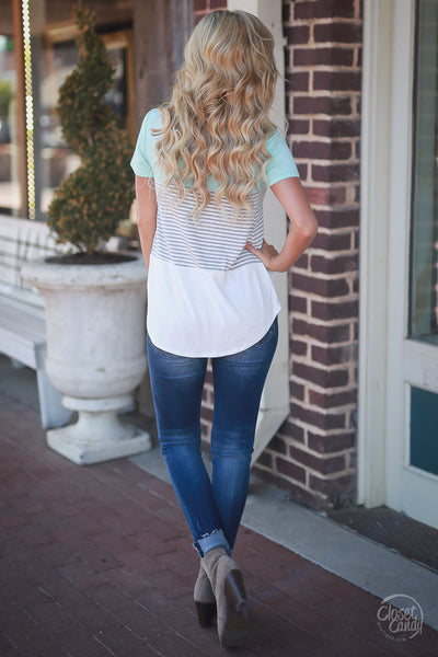 Closet Candy Boutique - All Day Everyday Top, cute and comfy everyday tee, stripe and color block shirt, back