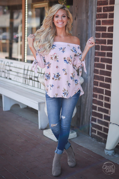 Carefree Days Top - Blush stylish off shoulder womens floral shirt trendy closet candy boutique