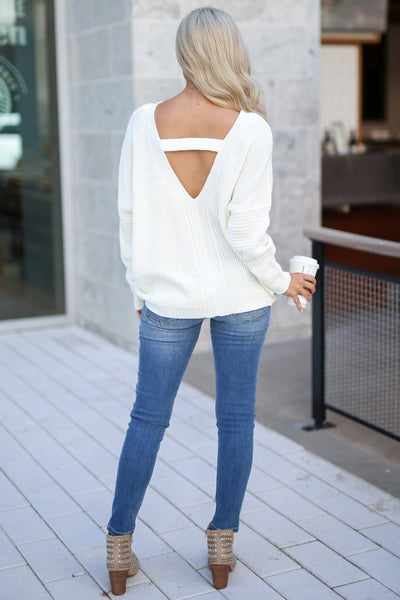 Cozy On Up Sweater - Ivory women's trendy knit top, cute back detail, perfect for fall, closet candy boutique 2