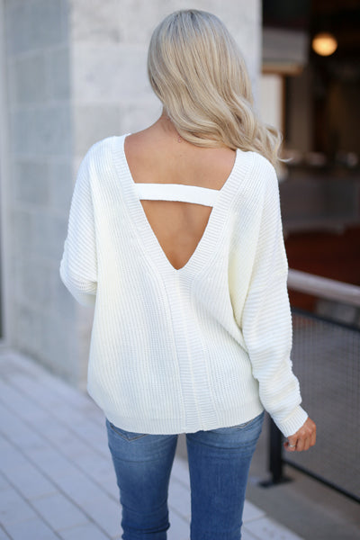 Cozy On Up Sweater - Ivory women's trendy knit top, cute back detail, perfect for fall, closet candy boutique 5