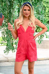 Grab the Sparklers Romper - Coral women's v-neck open back romper, Closet Candy Boutique front 2