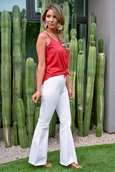 Eyes on You Button Up Linen Cami - Red - v-neckline with adjustable straps - Closet Candy Boutique - Side View
