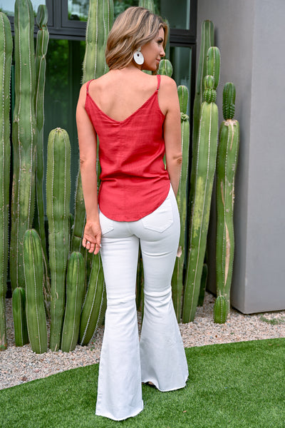 Eyes on You Button Up Linen Cami - Red - v-neckline with adjustable straps - Closet Candy Boutique - Back View