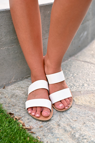 Athena Slide Sandals - White - Women's dual banded slide sandals - Closet Candy Boutique - Close up
