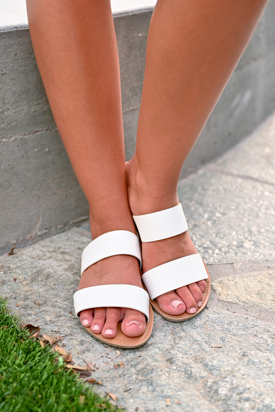 Athena Slide Sandals - White - Women's dual banded slide sandals - Closet Candy Boutique