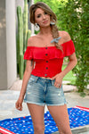 Firecracker Crop Top - Red - women's off the shoulder smocked top with ruffle overlay and hem - Closet Candy Boutique - Alt View 2