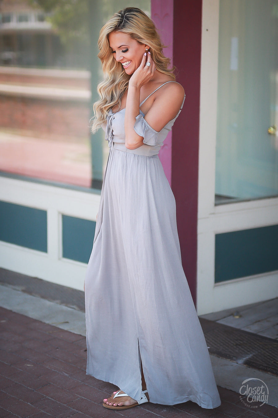 LUSH Make An Entrance Maxi Romper - Grey