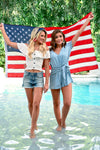 Firecracker Crop Top - Ivory - women's off the shoulder smocked top with ruffle overlay and hem - Closet Candy Boutique - With friend and flag