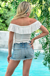 Firecracker Crop Top - Ivory - women's off the shoulder smocked top with ruffle overlay and hem - Closet Candy Boutique - Back View