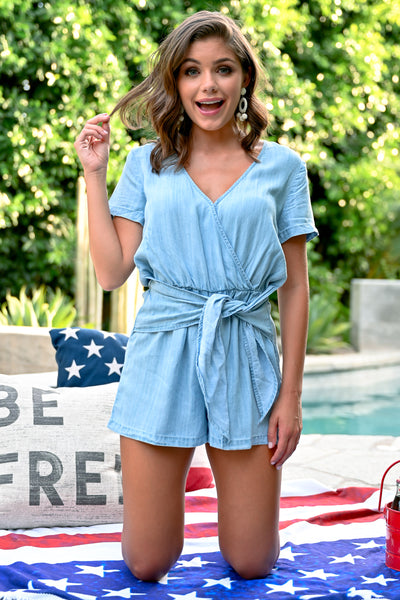 LOVE STITCH Chambray Romper - Light Wash womens chambray romper closet candy front 2; Model: Hannah Sluss