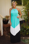 Beauty and the Beach Maxi Dress - jade chevron colorblock maxi dress, long dresses, front view, Closet Candy Boutique