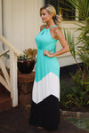 Beauty and the Beach Maxi Dress - jade chevron colorblock maxi dress, long dresses, side view, Closet Candy Boutique