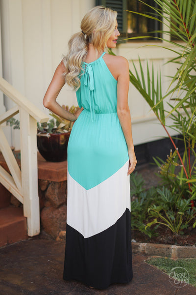 Beauty and the Beach Maxi Dress - jade chevron colorblock maxi dress, long dresses, back view, Closet Candy Boutique