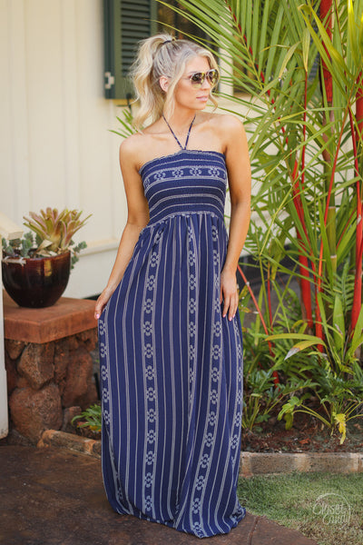Come Sail Away Maxi Dress - Navy