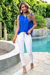 Midnight Sky Top - Royal Blue - women's sleeveless top with v-neck, chest pocket and hi-low hem - Closet Candy Boutique
