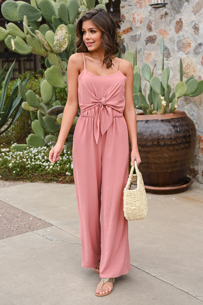 EVERLY Call Me Maybe Jumpsuit - Dusty Rose women's spaghetti strap, tie-front jumper, Closet Candy Boutique 1