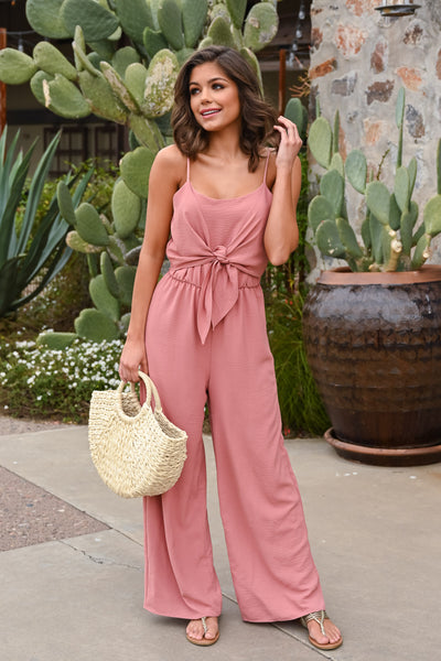EVERLY Call Me Maybe Jumpsuit - Dusty Rose women's spaghetti strap, tie-front jumper, Closet Candy Boutique 3