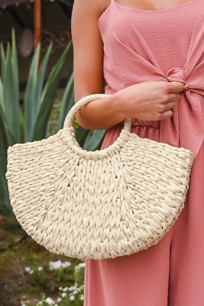 On Tahiti Time Straw Bag - Natural women's braided half-moon shaped purse, Closet Candy Boutique 1