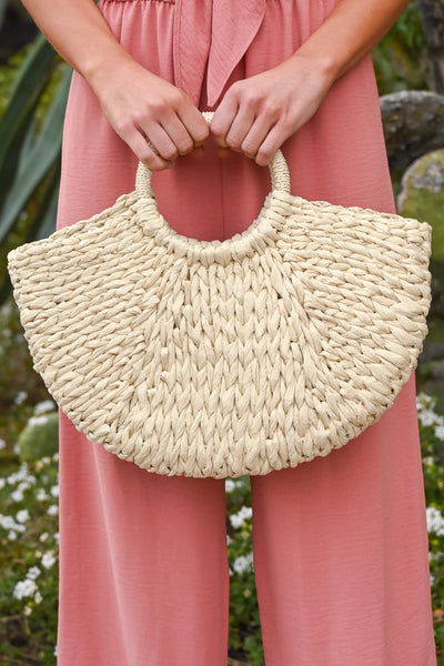 On Tahiti Time Straw Bag - Natural women's braided half-moon shaped purse, Closet Candy Boutique 2