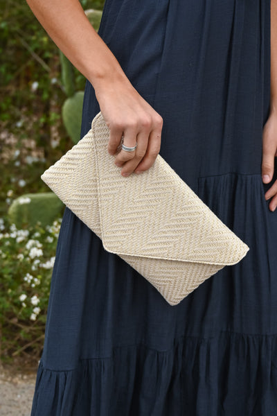 Vivica Envelope Clutch - Ivory women's patterned purse, Closet Candy Boutique 3