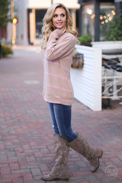 Moment Of Truth Top - cute taupe stripe top, side, Closet Candy Boutique