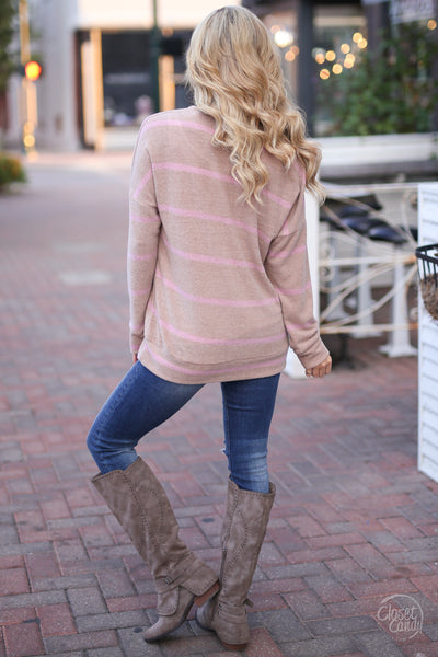 Moment Of Truth Top - cute taupe stripe top, back, Closet Candy Boutique