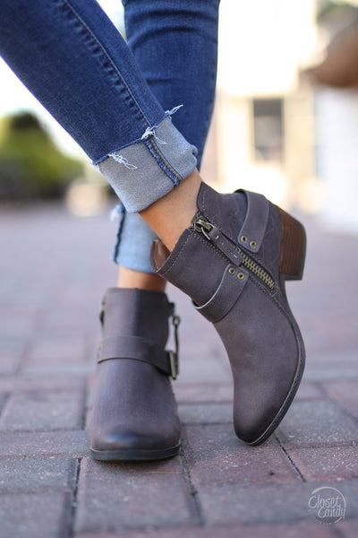 Tessa Booties - cute Chocolate ankle booties, front, Closet Candy Boutique
