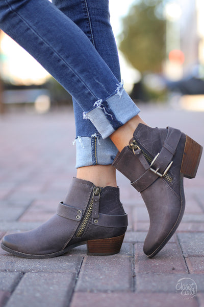 Tessa Booties - cute Chocolate ankle booties, side, Closet Candy Boutique
