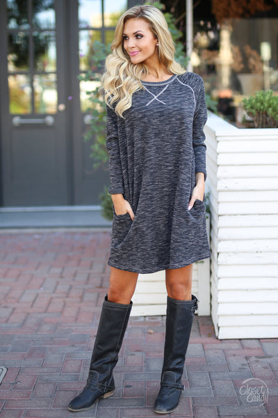 Decide Your Destiny Dress - Heathered Black long sleeve shift dress, front, Closet Candy Boutique